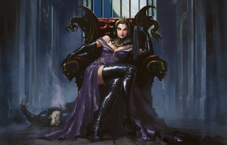 Фото обои девушка, маг, некромант, Liliana, Magic: The Gathering, сидит на троне