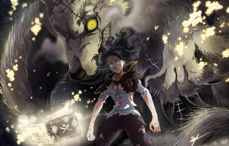 Фото обои монстр, когти, оскал, ужас, шрам, горящие глаза, рваная одежда, черная магия, матерый, Black Clover, Чёрный …