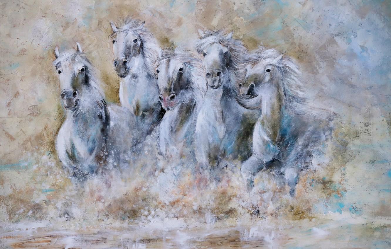 Фото обои вода, кони, лошади, табун