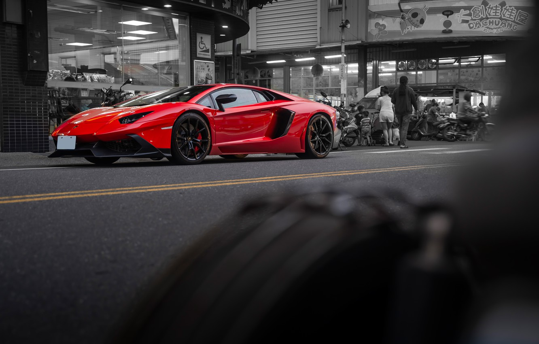 Фото обои дорога, красный, спорткар, LP700-4, Lamborghini Aventador, Lamborghini Aventador LP700-4