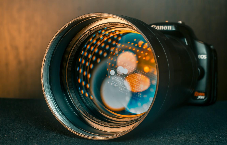 Фото обои свет, отражение, фото, фотоаппарат, объектив, линза, canon, боке