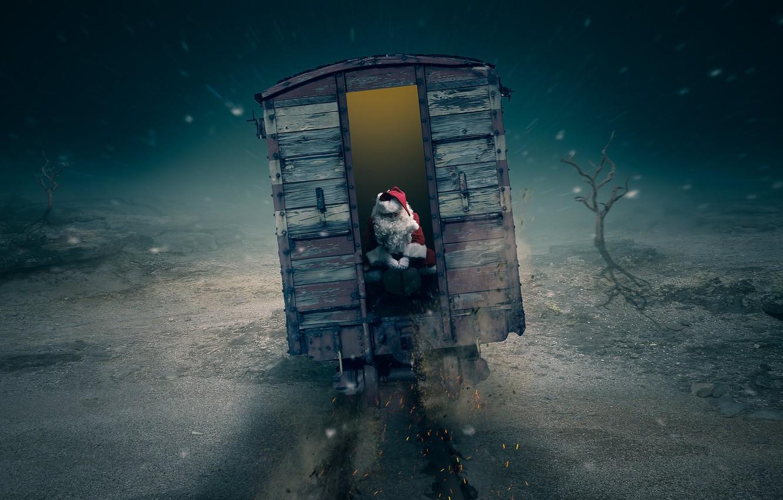 Фото обои christmas, train, late, Santa is going to be late
