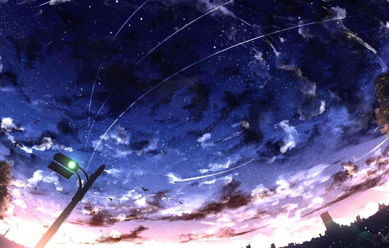 Фото обои закат, город, светофор