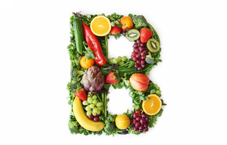 Фото обои фрукты, буква, овощи, витамины