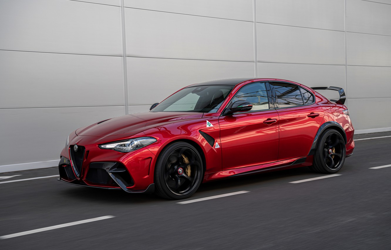 Фото обои красный, Alfa Romeo, Giulia, GTAm, 2020, Gran Turismo Alleggerita modificata