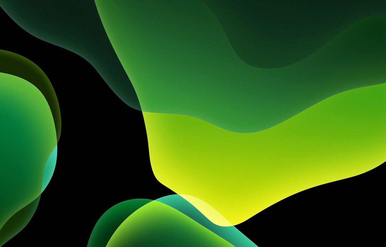 Фото обои green, dark, background, iOS 13