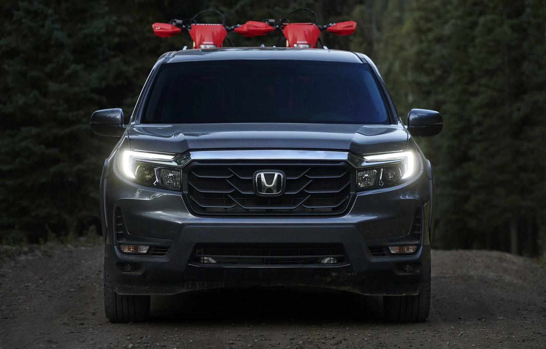 Фото обои Honda, вид спереди, пикап, 2020, Ridgeline, 2021