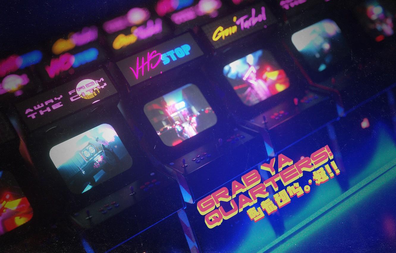 Фото обои Игра, Ретро, Стиль, 80s, Style, Neon, Illustration, Винтаж, Автоматы, 80's, Synth, Retrowave, Arcade, Synthwave, New …