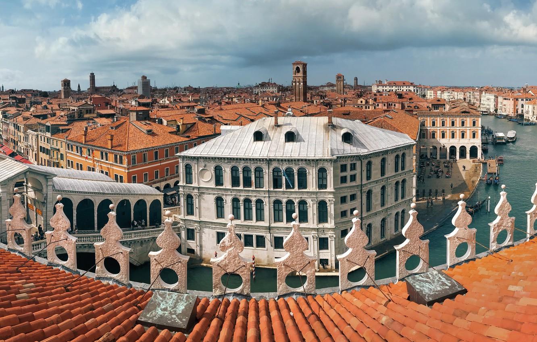 Фото обои крыша, здания, дома, Италия, панорама, Венеция, канал, Italy, Venice, черепица, Гранд-канал, Grand Canal