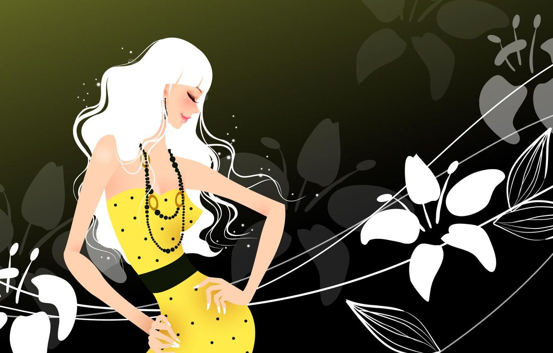 Фото обои цветы, улыбка, темный фон, пояс, бусы, smile, flowers, большая грудь, beads, belt, yellow dress, big …