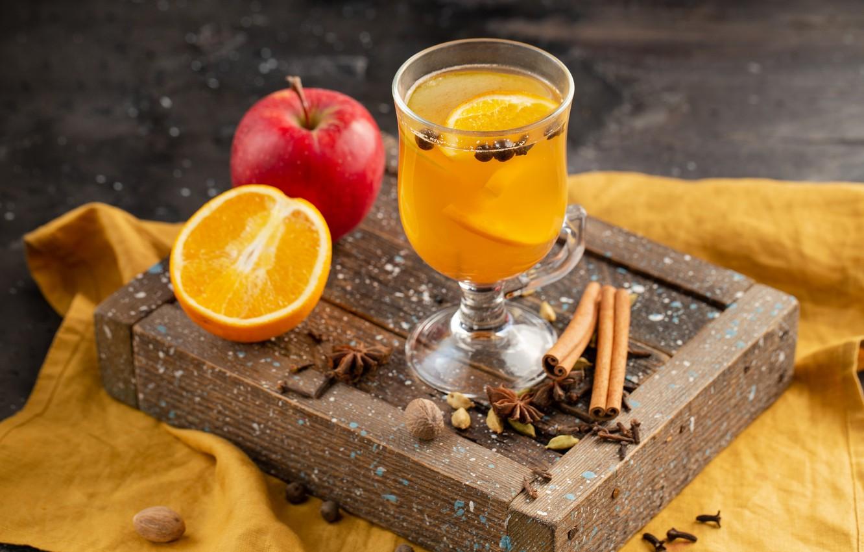 Фото обои яблоко, апельсин, сок, цитрус
