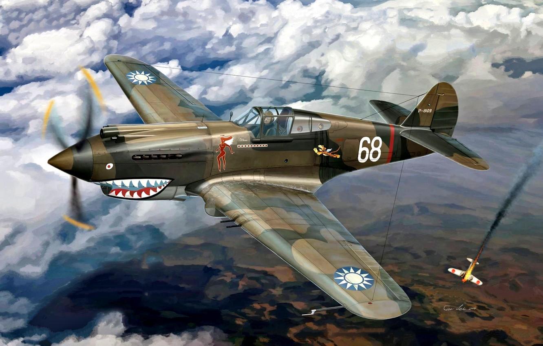 Обои американский, p-40, warhawk, kittyhawk, tomahawk, curtiss, Самолёт. Авиация foto 12
