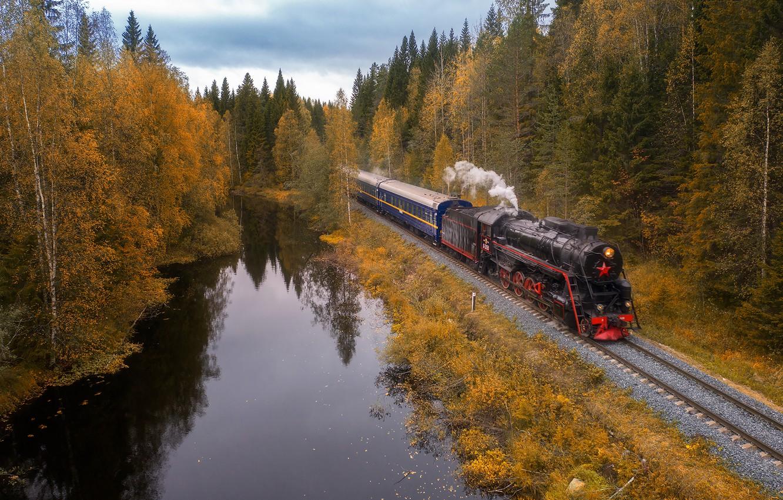 Обои поезд, небо, Пейзаж. Разное foto 14