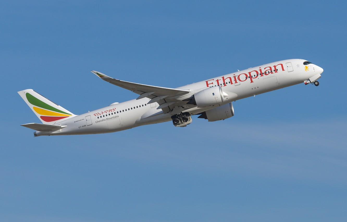 Фото обои Airbus, A350-900, Ethiopian Airlines