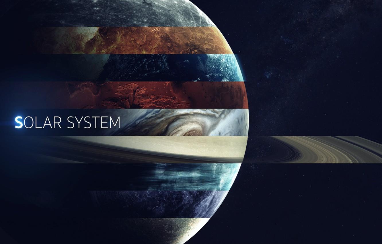 Фото обои Сатурн, Космос, Земля, Планеты, Марс, Юпитер, Нептун, Меркурий, Венера, Planets, Saturn, Earth, Уран, Система, Mars, ...
