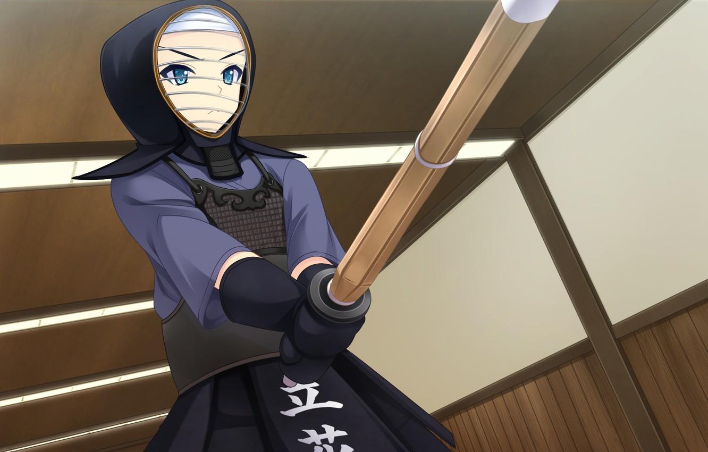 Фото обои шлем, тренировка, visual novel, kendo, бамбуковый меч, by Masato Satofuji, Anata no Koto o Suki …