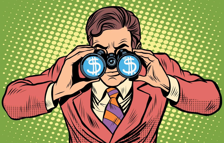 Фото обои money, suit, business, binoculars