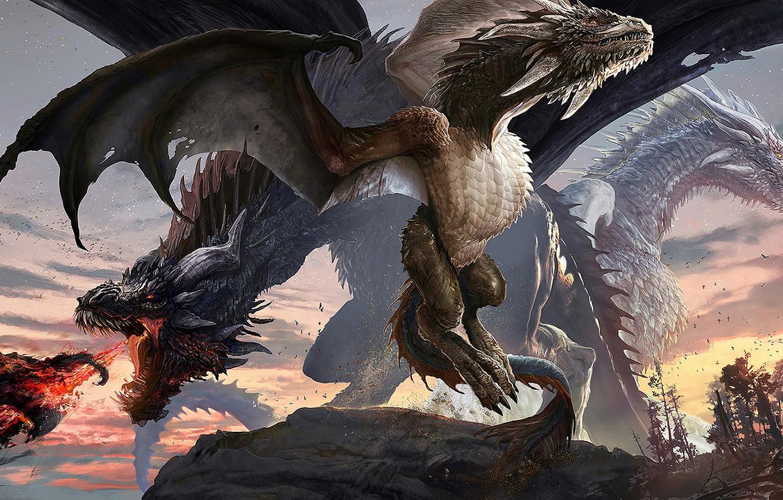 Фото обои fire, fantasy, horns, wings, digital art, artwork, fantasy art, creature, Dragons