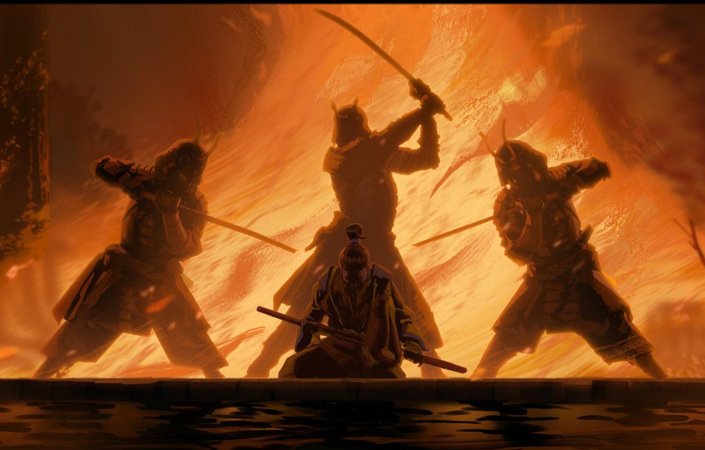 Фото обои fire, sword, fantasy, weapon, katana, fight, men, digital art, artwork, Samurai, warrior, fantasy art