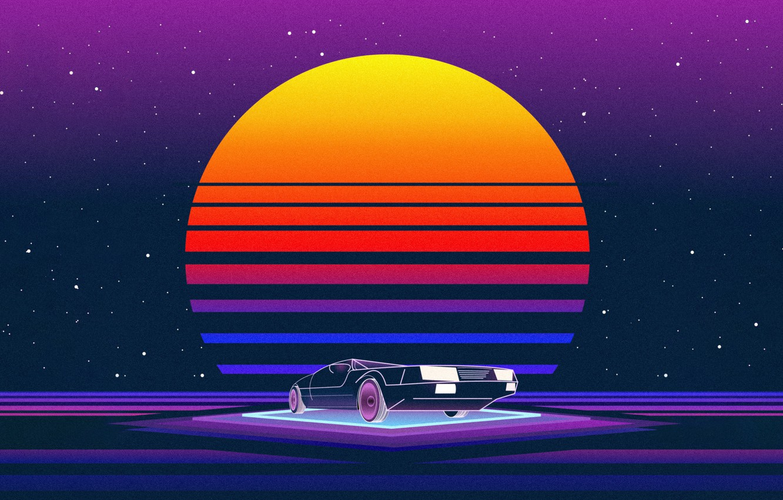 Фото обои Солнце, Музыка, Машина, Звезда, Стиль, Фон, 80s, Style, Neon, Illustration, 80's, Synth, Retrowave, Synthwave, New ...