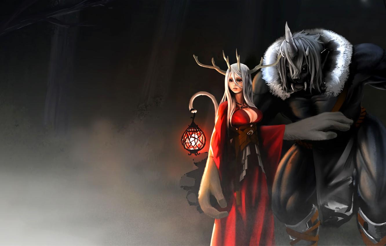 Фото обои girl, fantasy, cleavage, horns, red eyes, digital art, artwork, fantasy art, beast, Creature