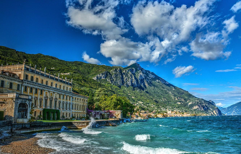 Фото обои горы, озеро, здание, Альпы, Италия, Italy, Alps, Ломбардия, Lombardy, Lake Garda, Gargnano, Озеро Гарда, Гарньяно