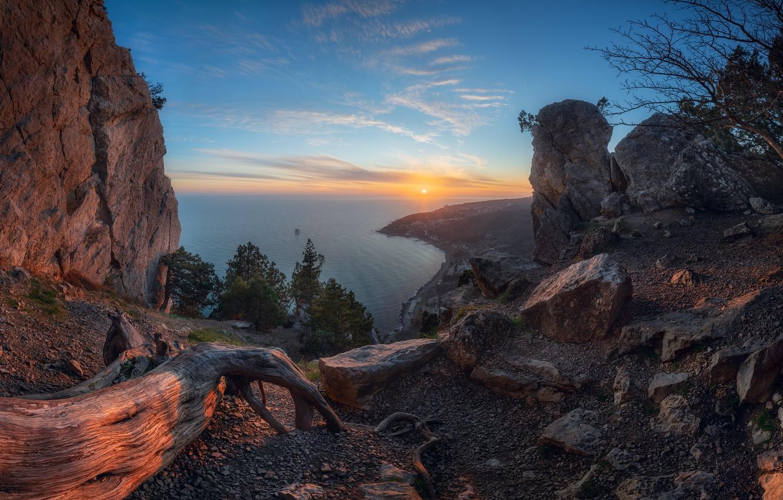 Фото обои море, пейзаж, закат, горы, природа, камни, берег, Крым, Симеиз, Константин Воронов
