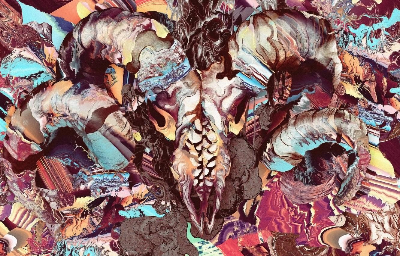 Фото обои фракталы, череп, скорость, демон, рога, demon, skull, acid, horns, speed, fractals, кислота, игра красок, психоделический …