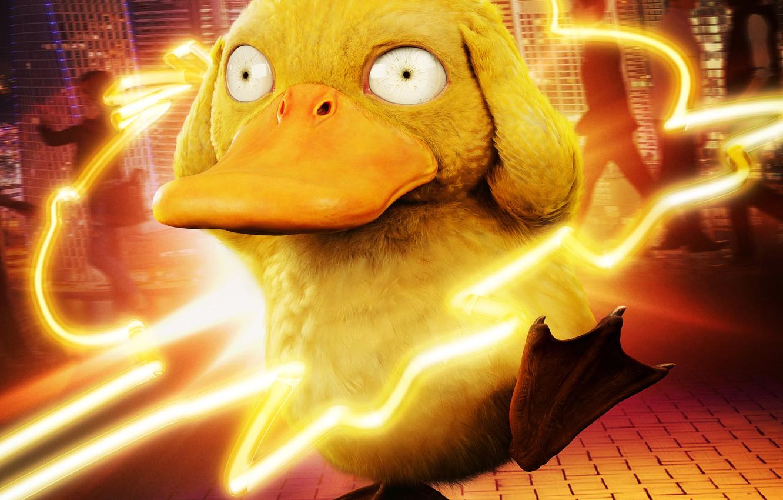 Фото обои неон, лапы, клюв, neon, покемон, pokemon, водный, психический, psyduck, псайдак, псидак, головная боль