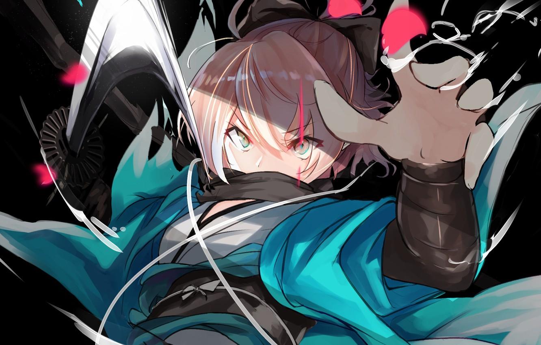 Фото обои взгляд, девушка, злой взгляд, Sakura Saber, Fate / Grand Order, Судьба великая кампания