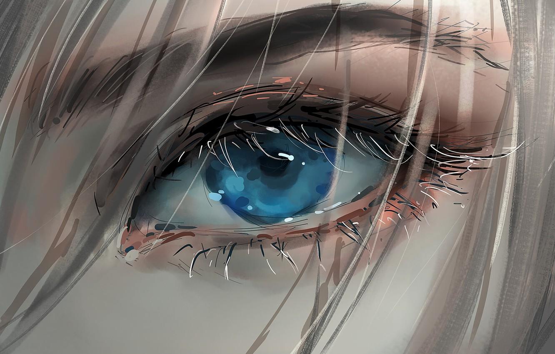 Фото обои girl, art, blue eyes, face, blonde, digital art, artwork, eyelashes, Eye
