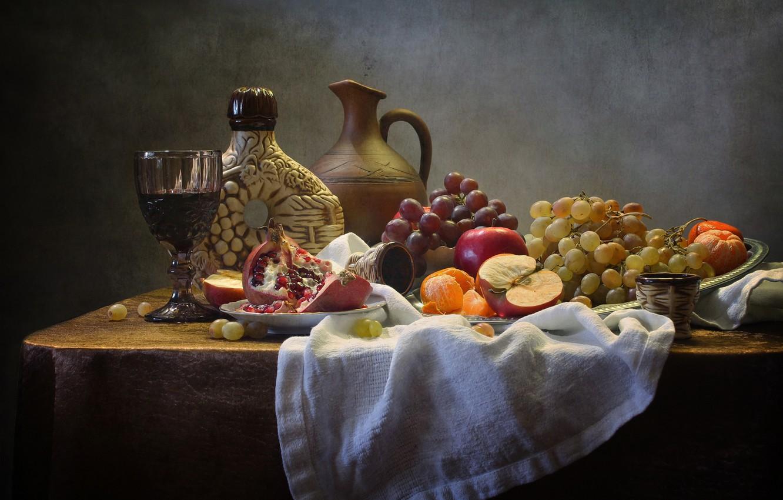 Фото обои вино, бокал, фрукты, натюрморт, салфетка, Ковалёва Светлана, Светлана Ковалёва