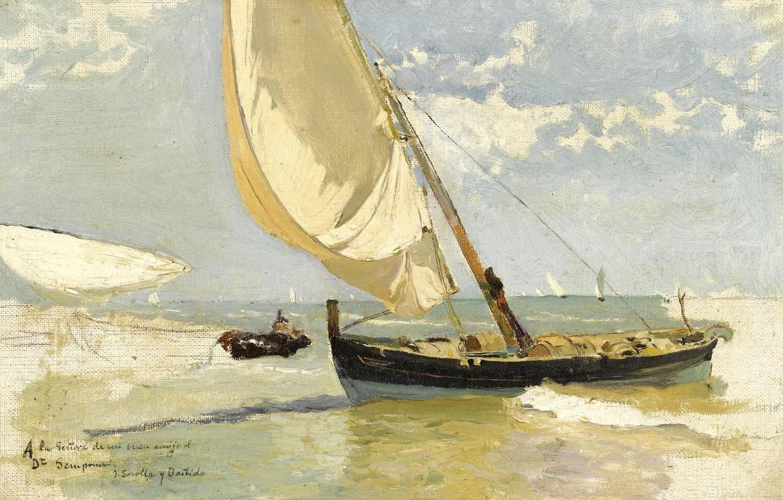 Обои жанровая, парус, Три Паруса, лодка, женщины, Хоакин Соролья, морской пейзаж, картина. Разное foto 7