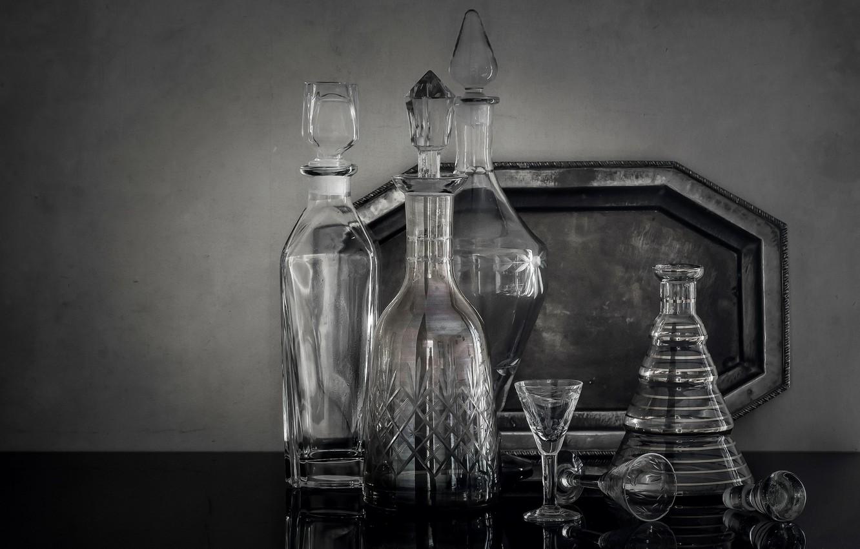 Обои стекло, натюрморт, бутылка, цветы, графин. Разное foto 18
