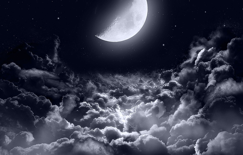 Фото обои dark, moon, clouds, stars, night sky, moonlight, half moon, night sky stars