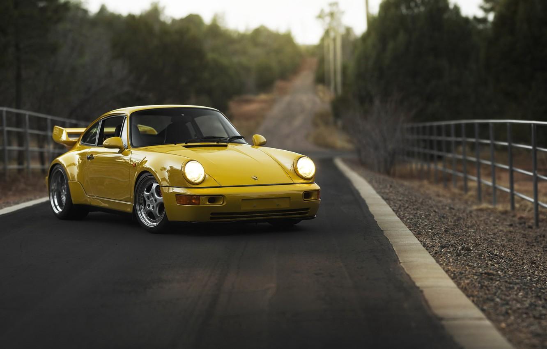 Фото обои дорога, машина, фон, 1993 Porsche 911 Carrera RS 3.8
