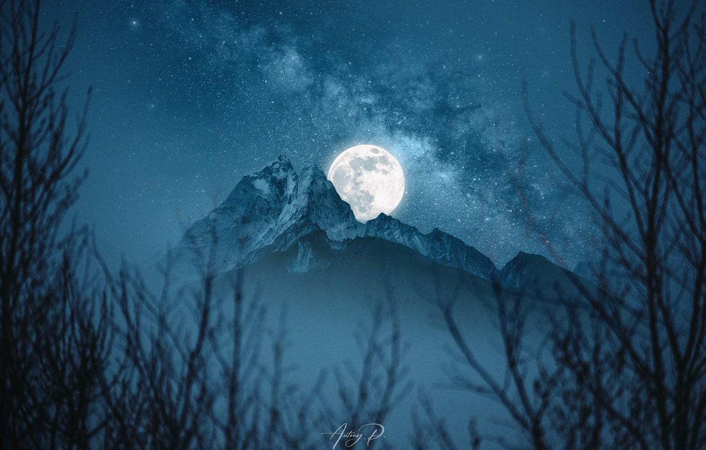 Фото обои moon, Space, night, space art