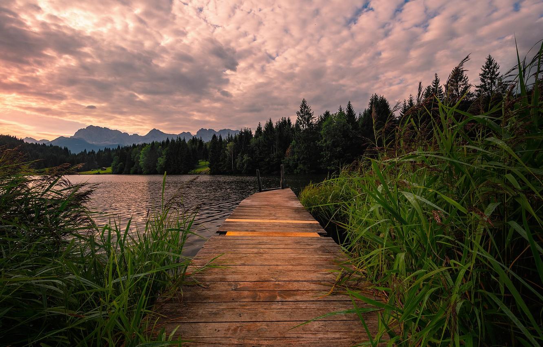 Фото обои Germany, Bavarian Alps, Lake, broken Gate