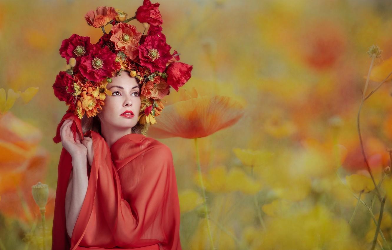 Фото обои девушка, цветы, Florence Rapati
