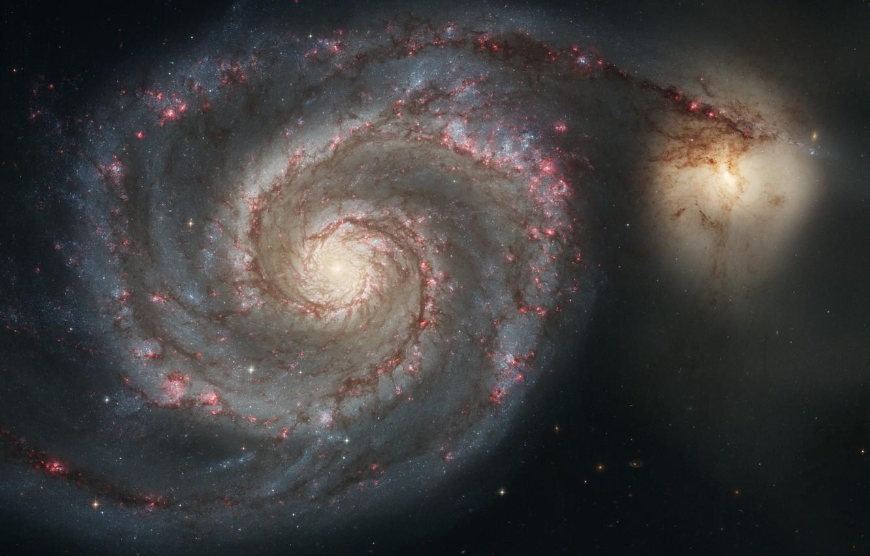 Фото обои Хаббл, Спиральная галактика, Whirlpool Galaxy, Messier 51
