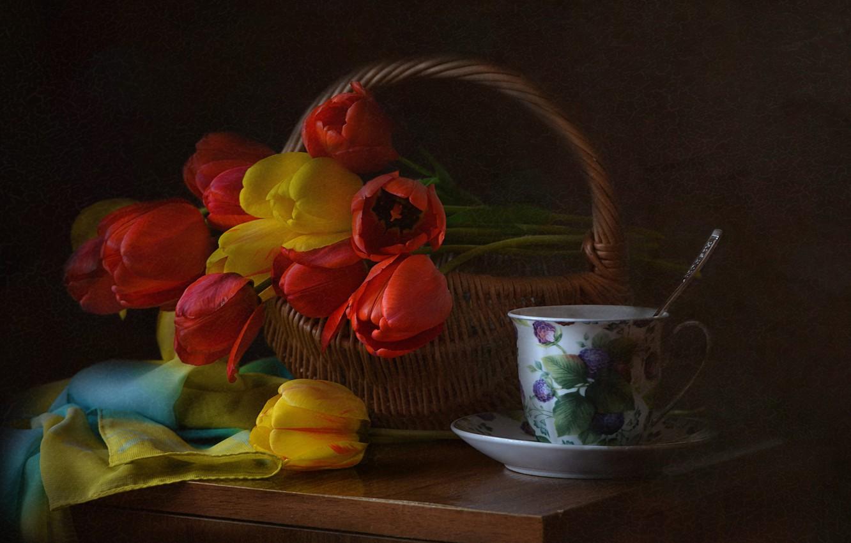 Обои цветы, натюрморт, сервиз, тарелка, стол. Разное foto 11
