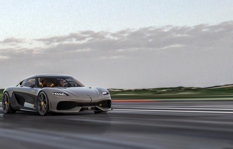 Фото обои дорога, движение, скорость, Koenigsegg, 2020, Gemera