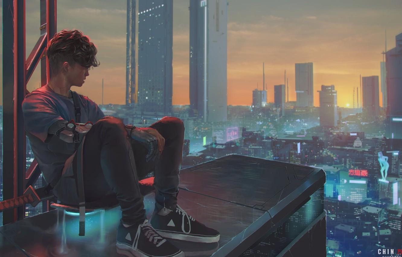 Фото обои стрижка, небоскребы, парень, кроссовки, вид сверху, на крыше, огни большого города, панорама города, сидит на …