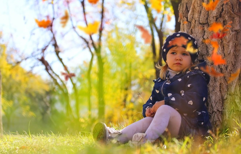 Фото обои осень, природа, ребенок, девочка