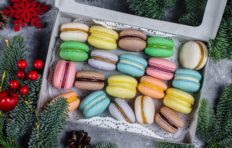 Фото обои украшения, colorful, christmas, десерт, dessert, decoration, macaron, almond, макаруны, fir tree, ветки ели