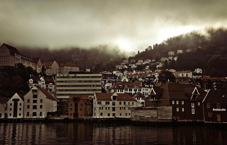 Фото обои город, рассвет, Норвегия, панорама