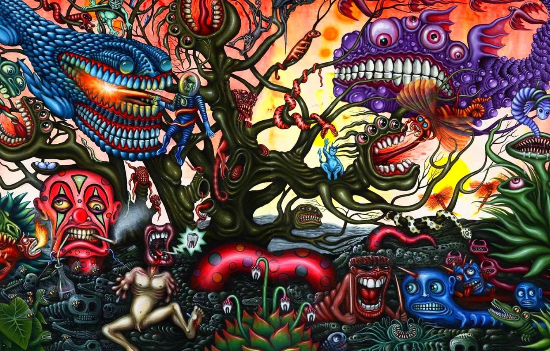 Фото обои космонавт, dark, монстры, существа, fantasy, evil, психоделика, creepy, кошмар, зубастые, сновидение, psy art, инные миры, …