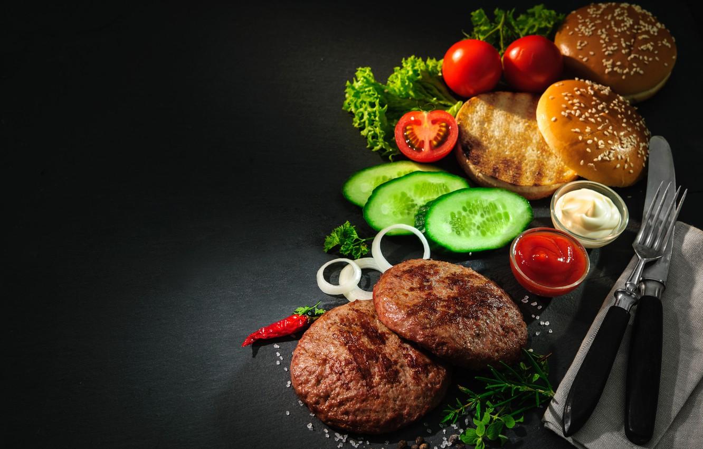 Фото обои зелень, помидоры, огурцы, котлеты, кушанье