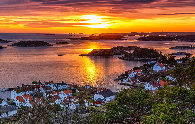 Фото обои Sunset, Norway, Arendal, Rævesand