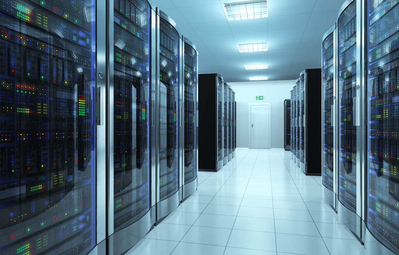 Фото обои server, corridor, storage, information, data center